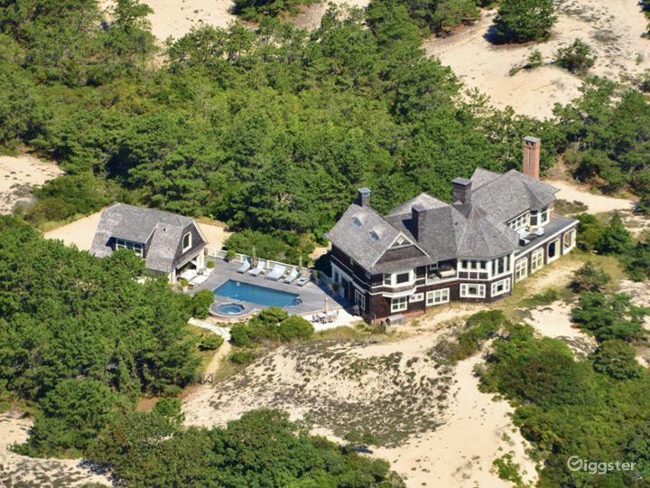 The home is surrounded by dramatic dunescape