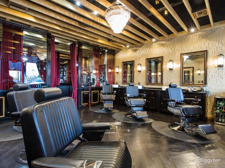 Main area of barbershop, side view
