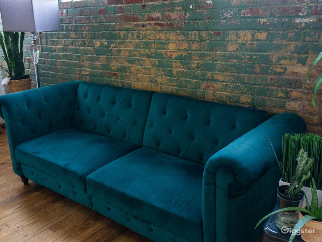 Mid century modern , green velvet couch/prop.