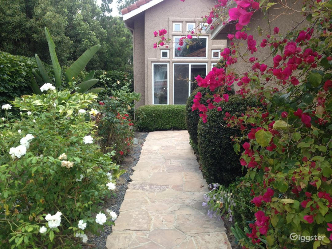 walkway to front entry during spring and summer time