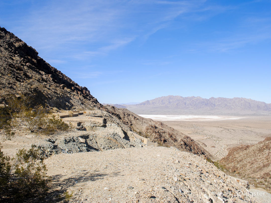 view looking east to the dale dry lake and far east end of the morongo valley