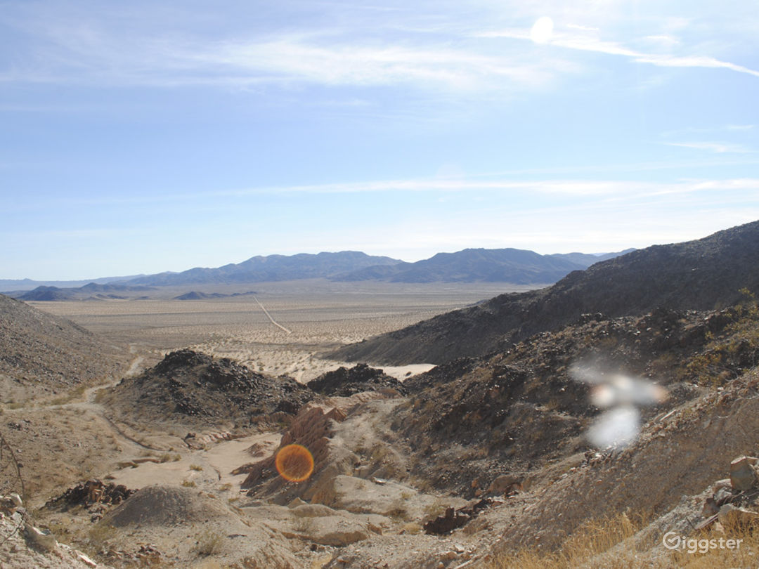 view looking west into joshua tree national park, park boundry is 2 miles