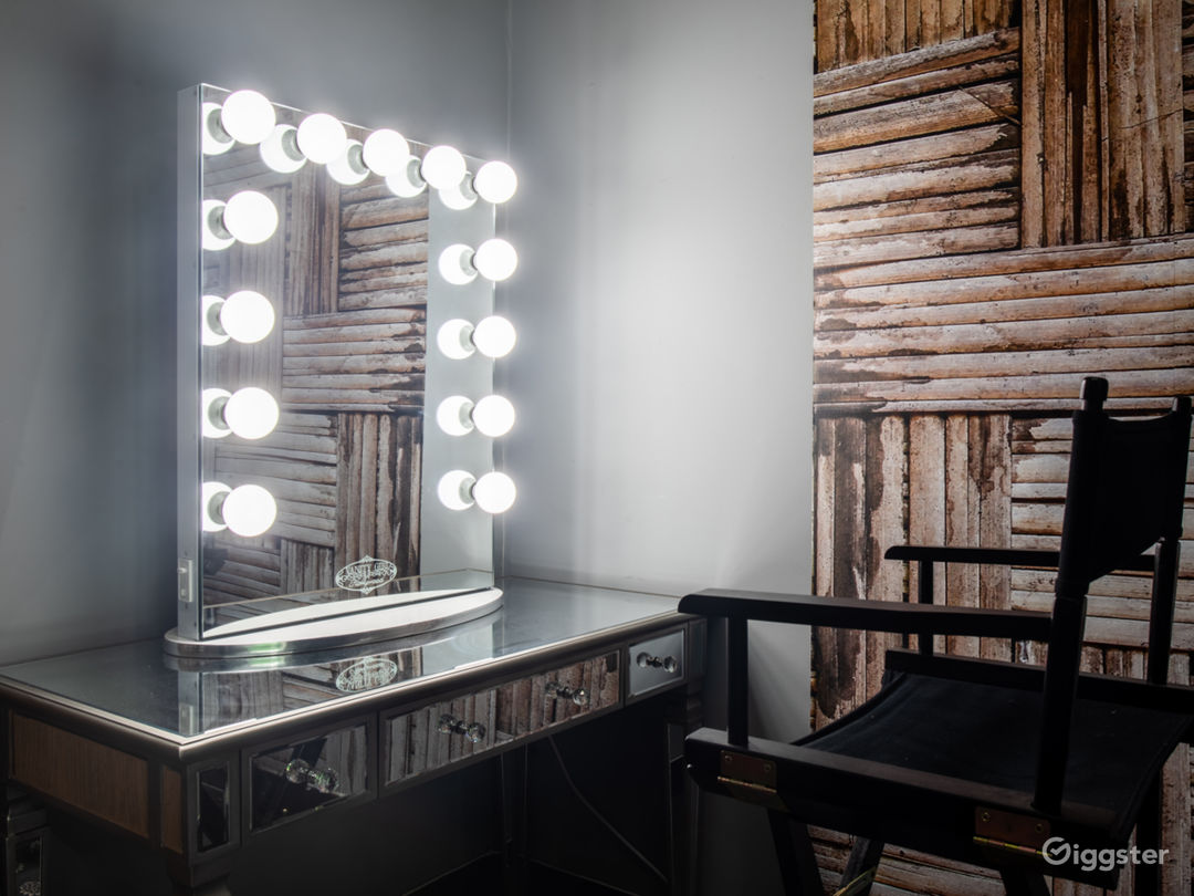 Makeup area with vanity mirror