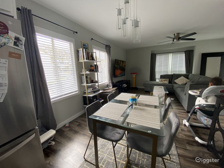 Open Floor plan, dining room + living room