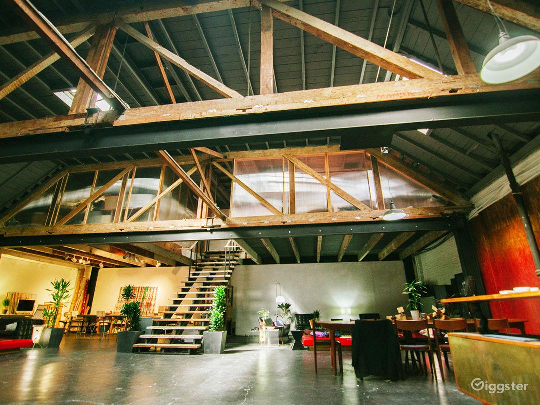 Downtown LA open concept warehouse space converted into a hip loft living space