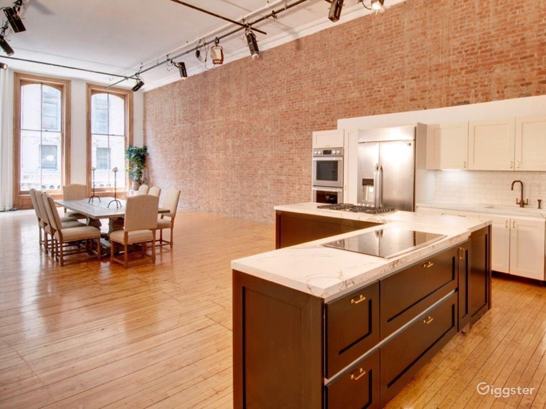 Brick loft with chef's kitchen