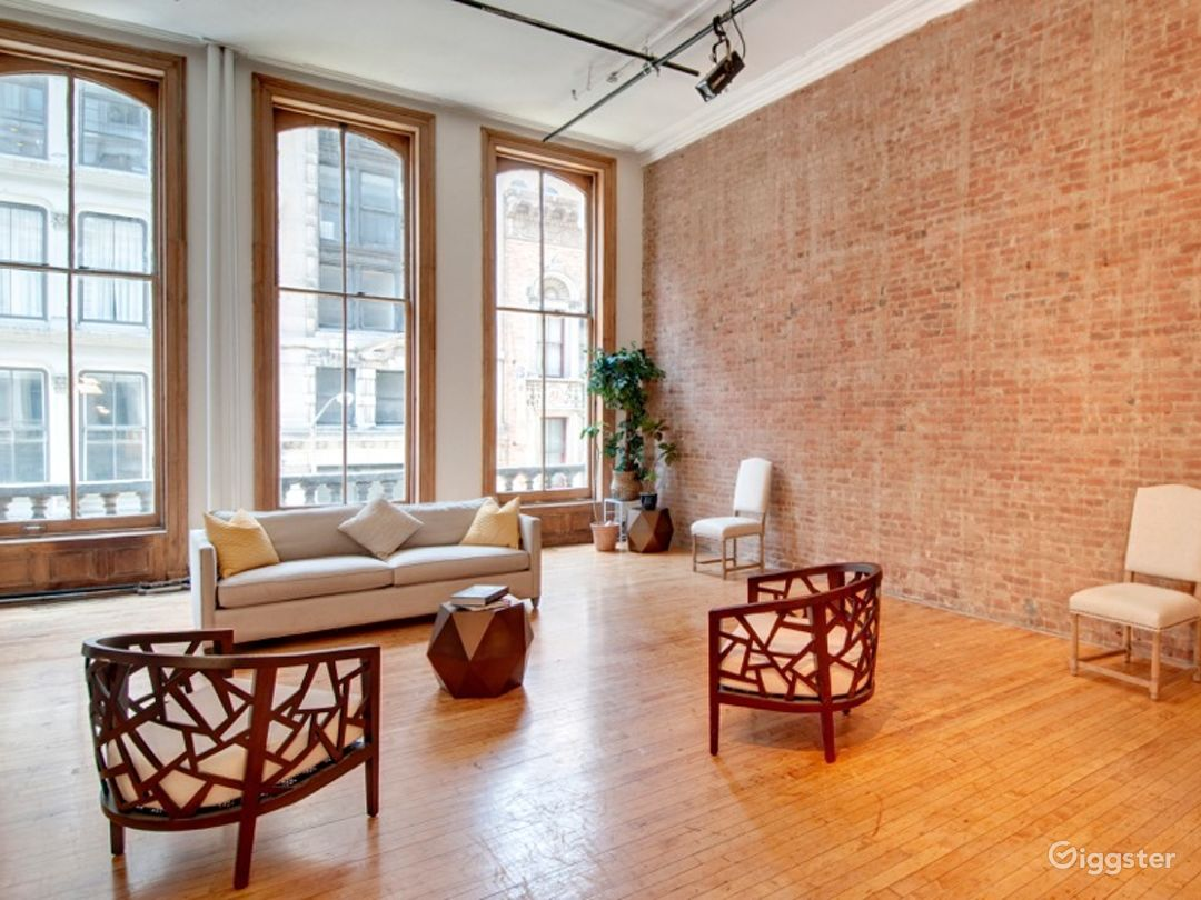 Brick loft, floor to ceiling windows