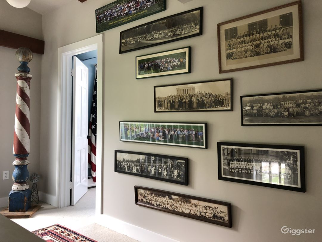 Hallway with barber pole And vintage photographs