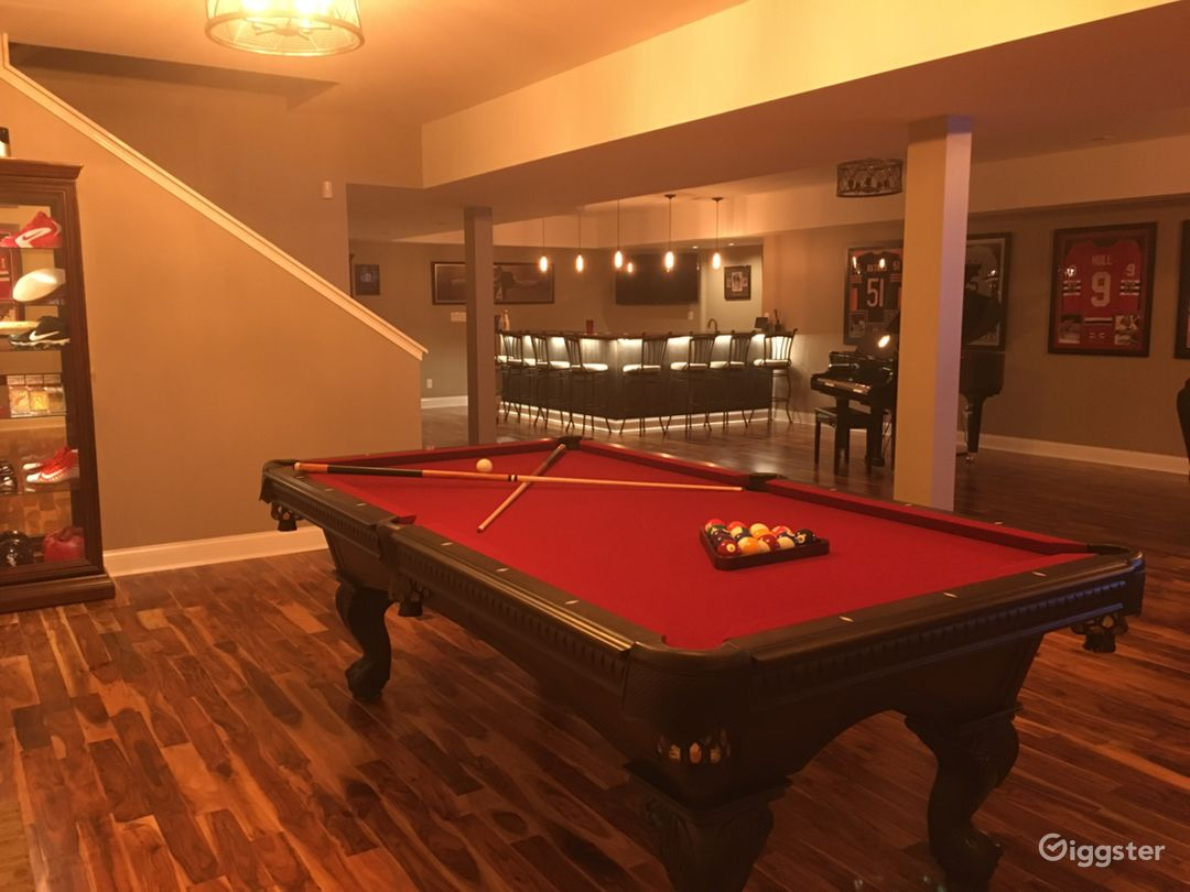 Large basement with piano bar sauna bathroom and bedroom
