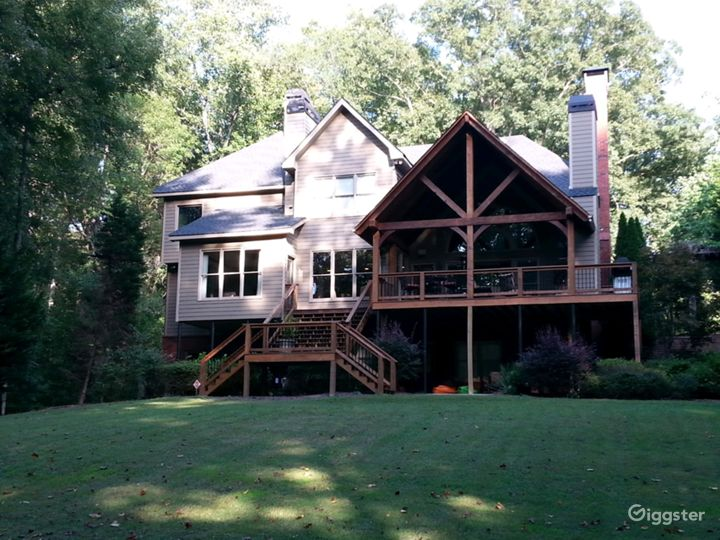 House on Chattahoochee River with a Timber Porch