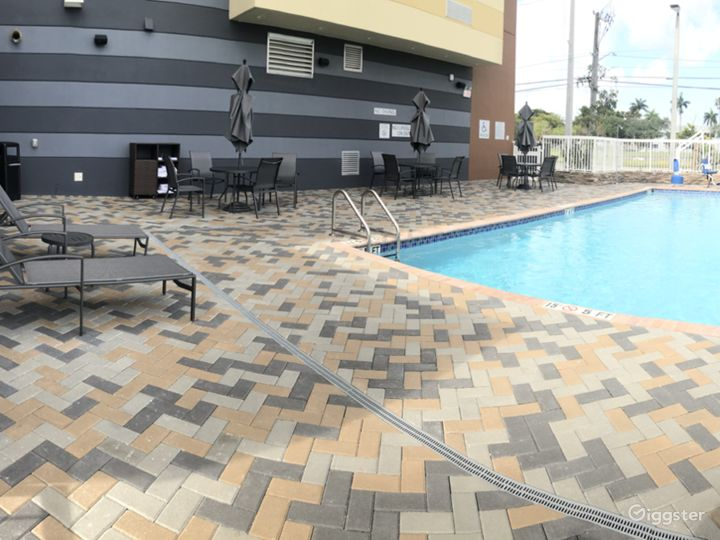 Outdoor pool available for rental