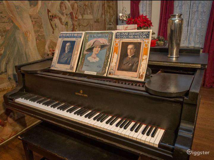 Vintage Library w/ Grand Piano Photo 4