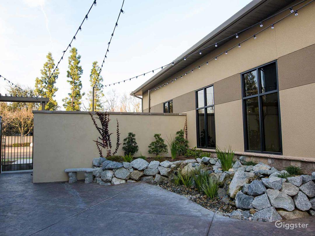 Courtyard with beautiful waterfalls in Fresno Photo 1