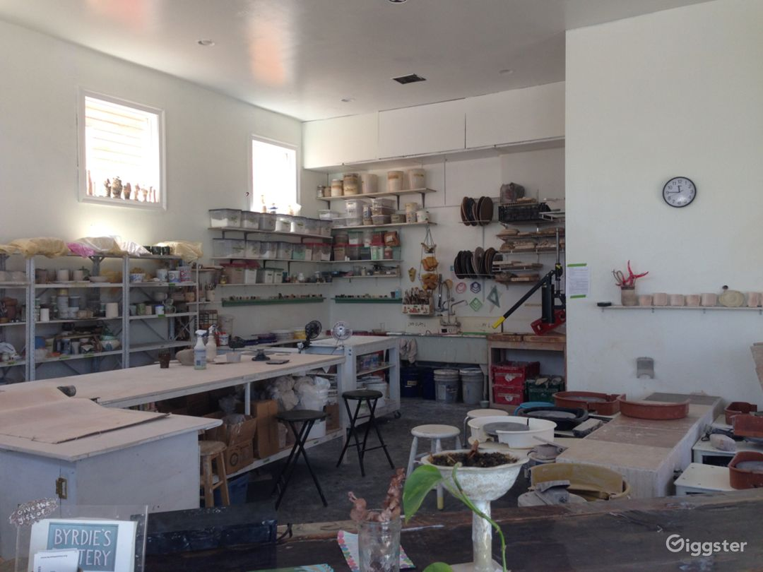 pottery studio takes up most of the space