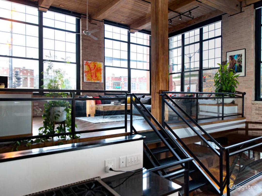 Split level living room overlooking Randolph Street's Restaurant Row