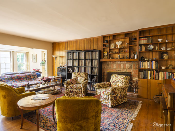 Suburban home with wood decor living room