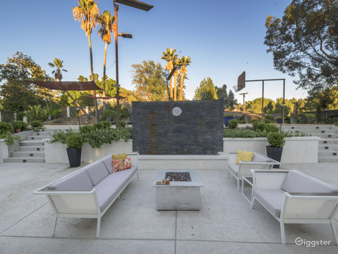 Relaxing outdoor firepit and cascading water fountain