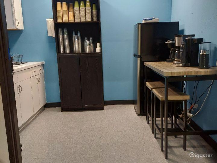 Kitchen with espresso machine