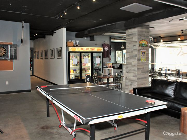 Bar side has non-typical bar games for patrons
