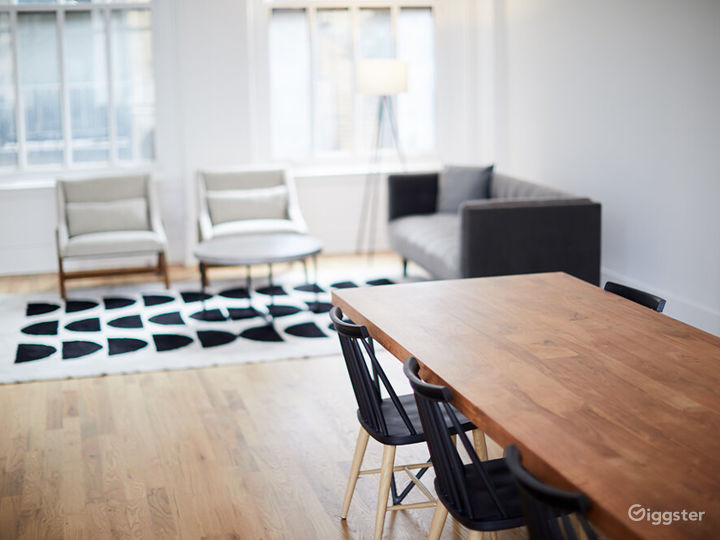 Black and White Kitchen Loft w/ Living & Dining Area Photo 5
