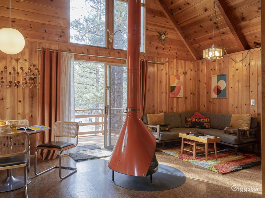 Mid Century cabin with fireplace in the middle.  Photo 1