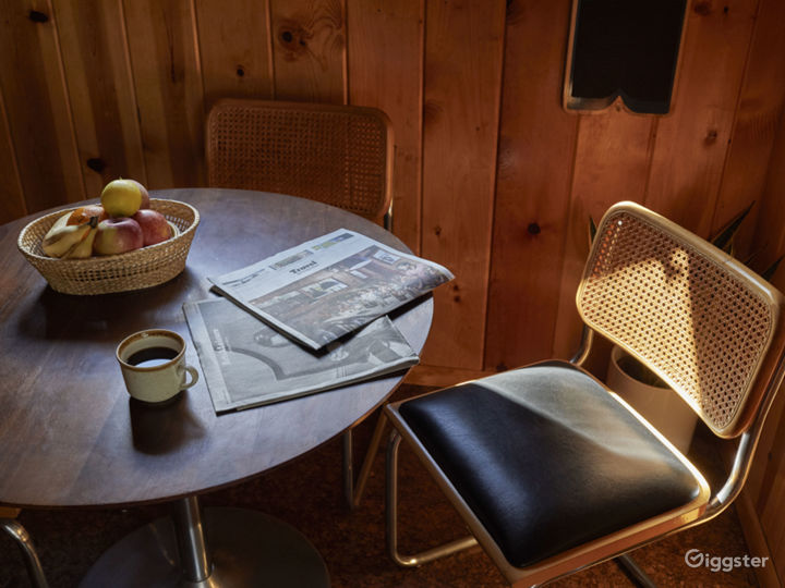 Mid Century cabin with fireplace in the middle.  Photo 3