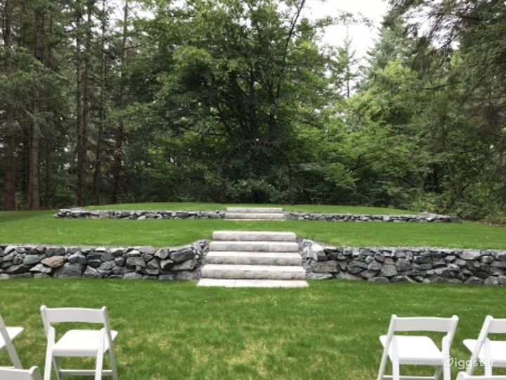 Event Space Canopied by Evergreen Trees Photo 4