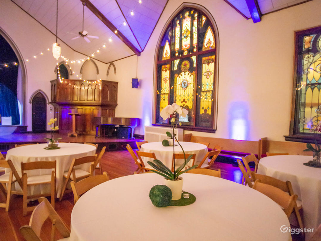 The Sanctuary with Spectacular Original Stained Glass Windows in Brilliant Jewel Tones - Events Space  Photo 1