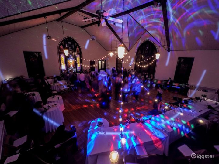 The Sanctuary with Spectacular Original Stained Glass Windows in Brilliant Jewel Tones - Events Space  Photo 3