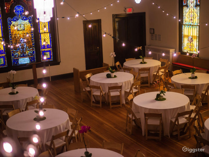 The Sanctuary with Spectacular Original Stained Glass Windows in Brilliant Jewel Tones - Events Space  Photo 2