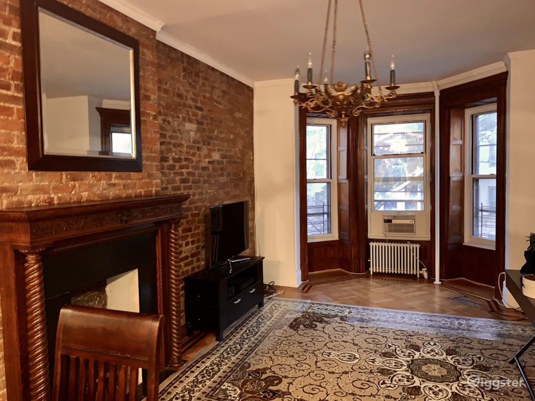 exposed brick, stain glass room