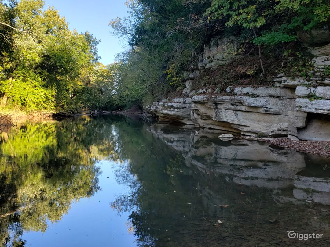 Property borders the Buffalo river with approximately 500 ft of river basin accessed by a road from the bluff.