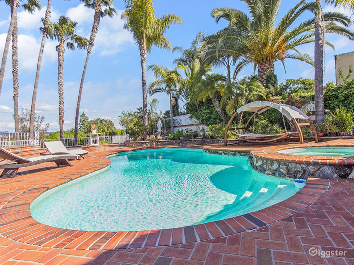 Back yard pool surrounded with palm trees