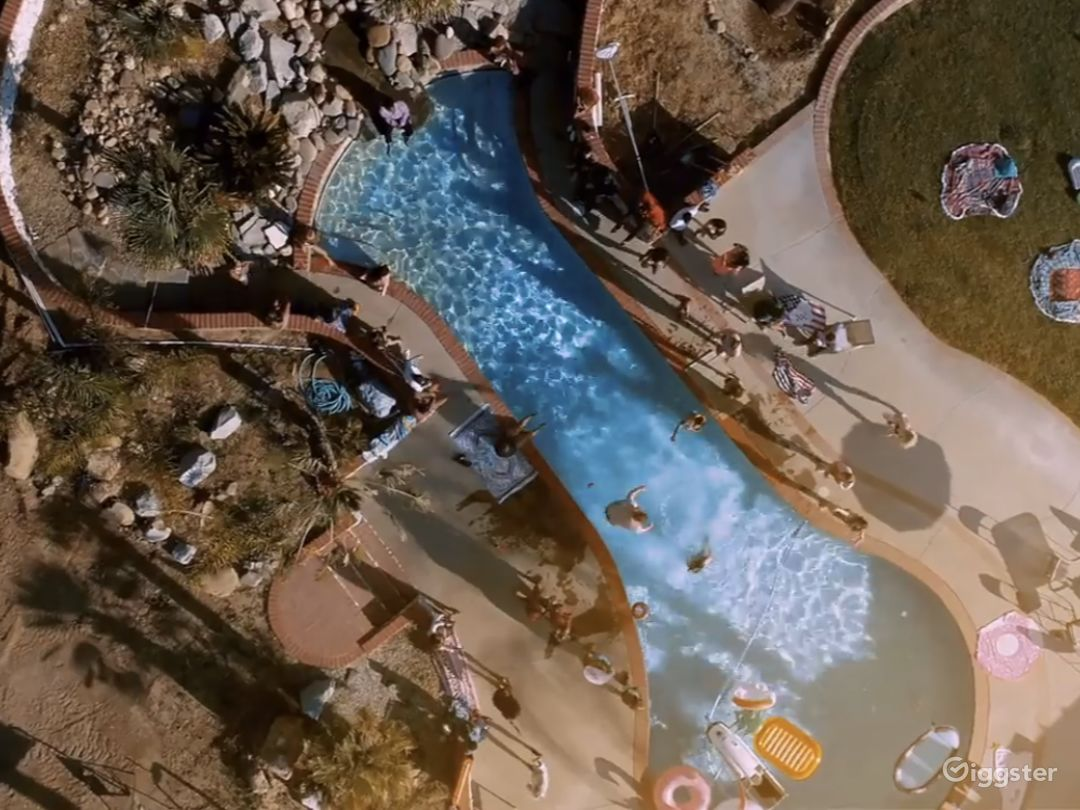 Drone view of pool yard video shoot