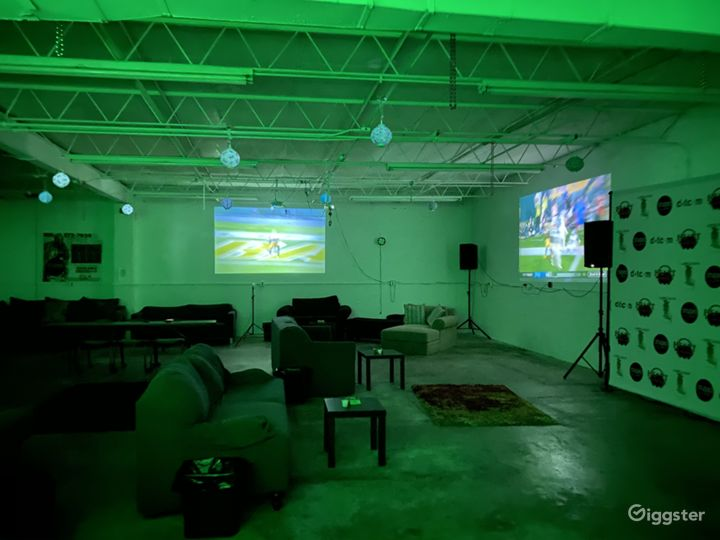 Lights, speakers  and  2 projector screens.