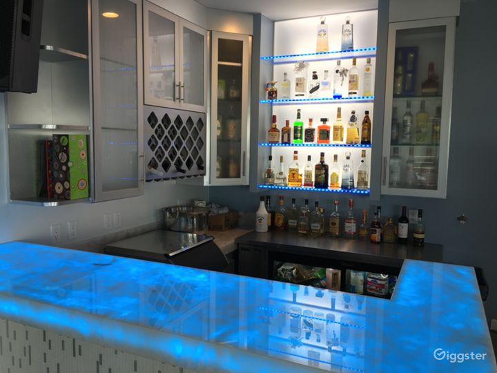 Nightclub bar lit blue