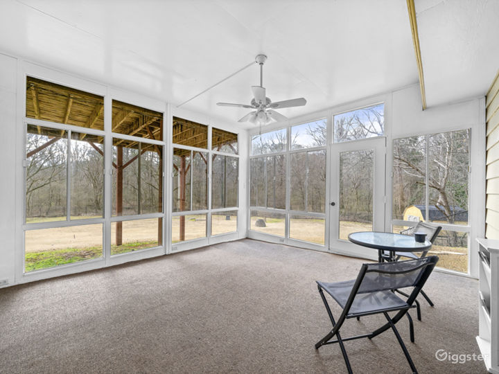 View of the secluded backyard from the sunroom.