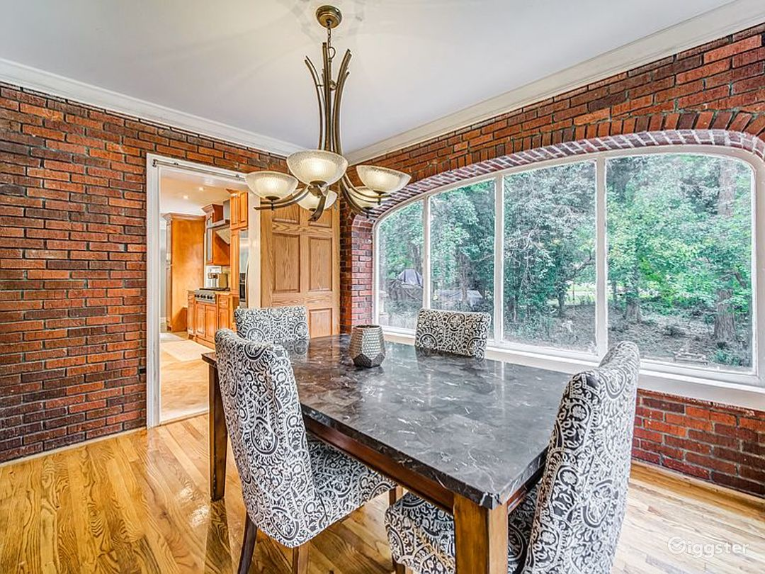 Brick Dinning room.