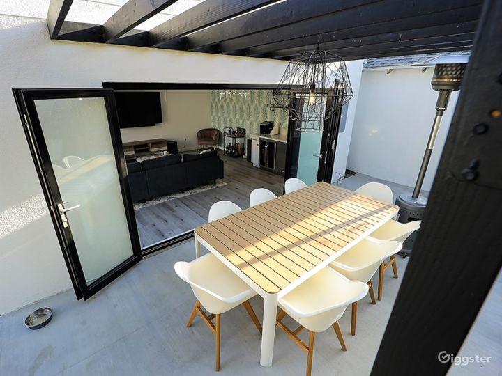 Patio to indoor with bifold doors open