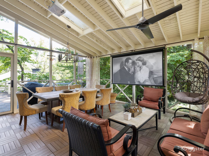 Large projection screen in outdoor living space