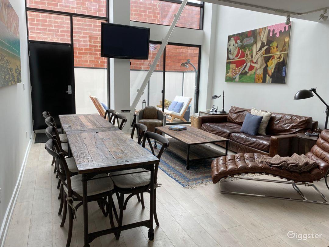 Living Room facing floor to ceiling windows