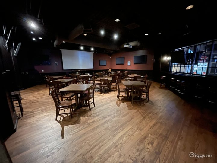 Private dining; beautiful hard woods, televisions and seating for 85 with a projector screen.