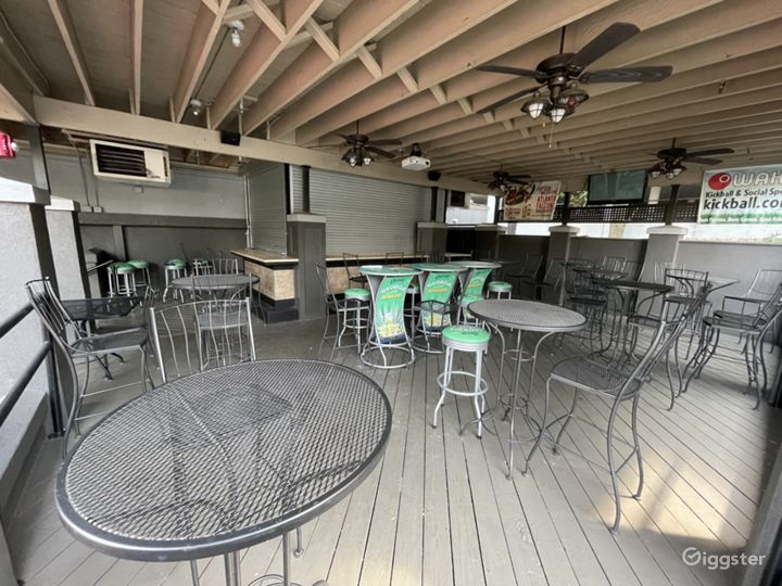 Patio bar; extensive space with a projector and pub tables and an 8 seat bar.