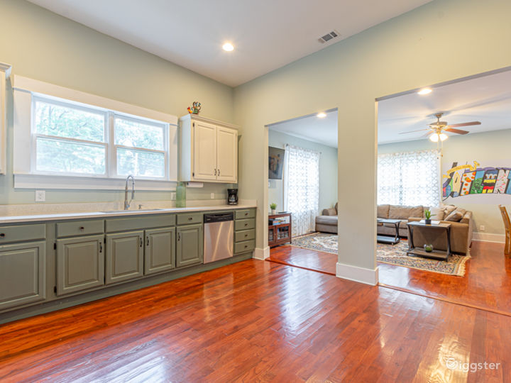 Flow into the family room after making a meal.