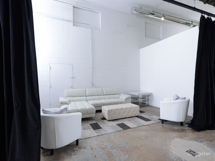 Curtained lounge area with loading dock