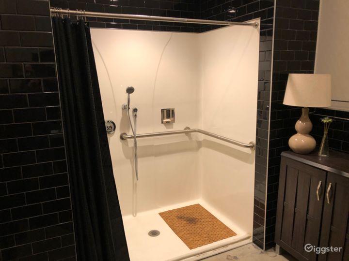 Green room shower.