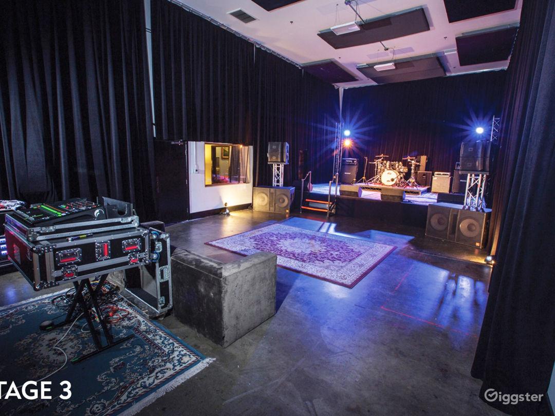 Manhattan Stage set up for music showcase.